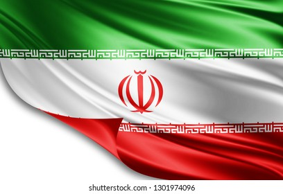 Iran flag of silk-3D illustration