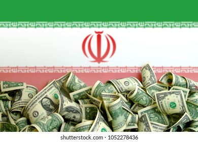 Iran flag with US Dollars