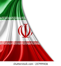 Iran flag and white background