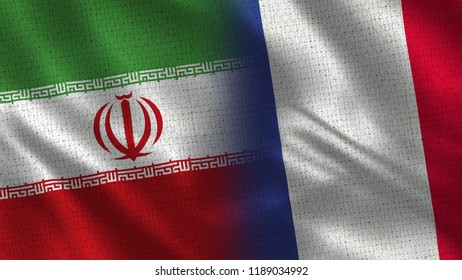 Iran and France - 3D illustration Two Flag Together - Fabric Texture