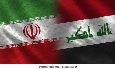 Iran and Iraq - 3D illustration Two Flag Together - Fabric Texture