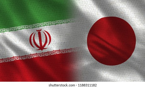 Iran and Japan - 3D illustration Two Flag Together - Fabric Texture