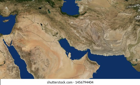 Iran Map with border Persian Gulf Arabian Gulf Iran map 3D rendering