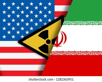 Iran Nuclear Sign - Deal Negotiation Or Talks With Usa. United States Treaty Relations Or Threat - 2d Illustration