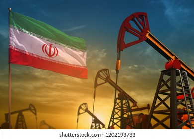 Iran oil industry concept, industrial illustration. Fluttering Iran flag and oil wells on the blue and yellow sunset sky background - 3D illustration