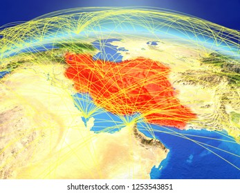Iran on planet Earth with international network representing communication, travel and connections. 3D illustration. Elements of this image furnished by NASA.