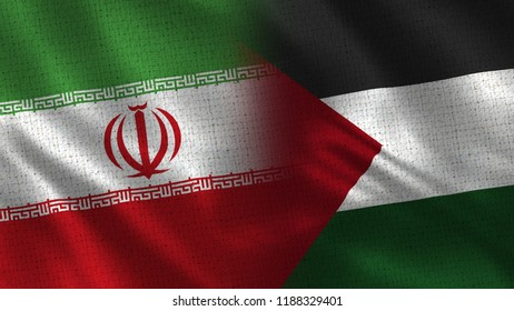Iran and Palestine - 3D illustration Two Flag Together - Fabric Texture