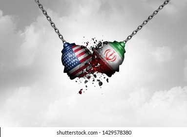 Iran US middle east clash as a USA or United States crisis in the Persian gulf concept as an American and Iranian with economic sanctions and nuclear deal dispute in a 3D illustration style.