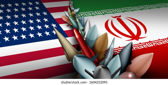 Iran US military crisis and armed confrontation or USA Iranian proxy war conflict with two opposing governments in a dispute as a persian gulf armed concept with 3D illustration.