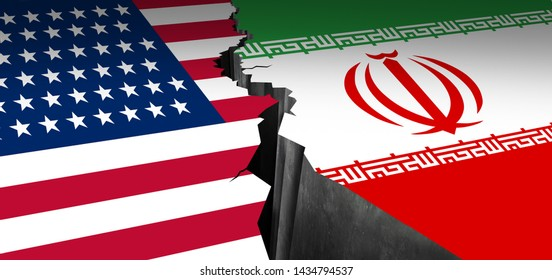 Iran US showdown and middle east clash as a USA or United States crisis in the Persian gulf concept as an American and Iranian security problem due to sanctions and nuclear deal as a 3D illustration.