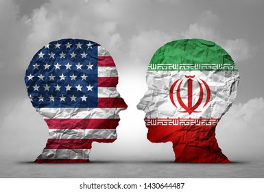 Iran US tensions middle east clash as a USA or United States crisis concept as an American and Iranian security problem due to economic sanctions in a 3D illustration style.