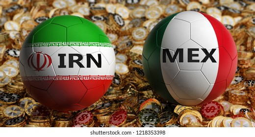 Iran vs. Mexico Soccer Match - Soccer balls in Iran and Mexico national colors on a bed of golden dollar coins. 3D Rendering