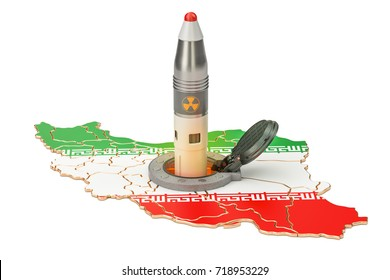 Iranian missile launches from its underground silo launch facility, 3D rendering