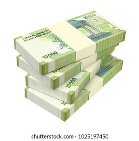 Iranian rials bills isolated on white with clipping path. 3D illustration.
