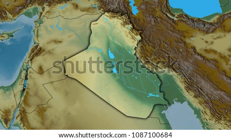 Royalty Free Stock Illustration Of Iraq Area On Topographic Relief