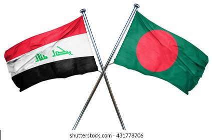Iraq flag with Bangladesh flag, 3D rendering