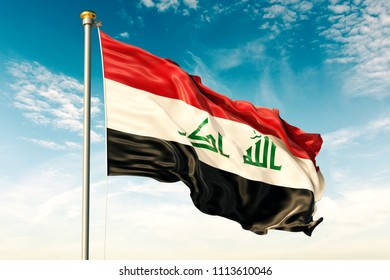 Iraq flag on the blue sky with cloud. 3D illustration