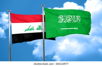 Iraq flag with Saudi Arabia flag, 3D rendering