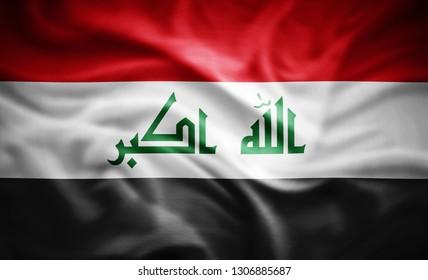 Iraq flag of silk