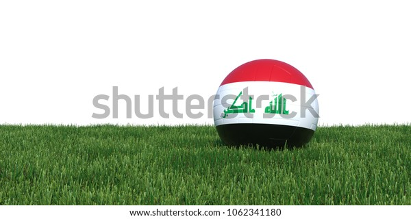 Iraq Iraqi flag soccer ball lying in grass, isolated on white background. 3D Rendering, Illustration.