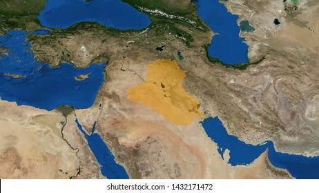 Iraq map 3D rendering, Republic of Iraq