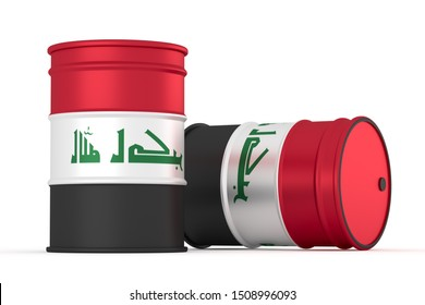Iraq oil barrels isolated on white background. 3d illustration