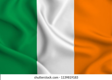Ireland 3D waving flag illustration. Texture can be used as background.