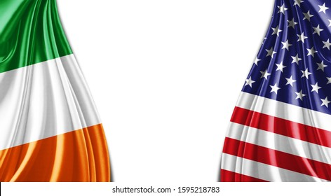 Ireland and American flag of silk with copyspace for your text or images and white background -3D illustration