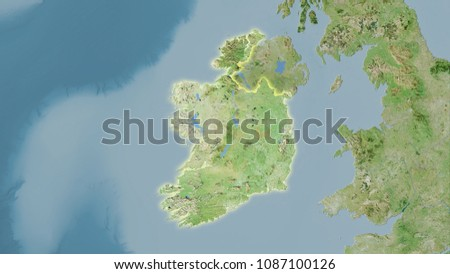 Satellite Map Of Ireland.Ireland Area On Satellite D Map Stock Illustration 1087100126
