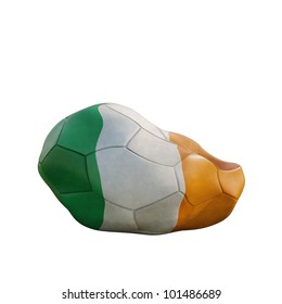 ireland deflated soccer ball isolated on white