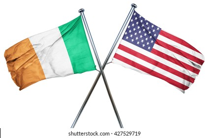 Ireland flag with american flag, isolated on white background