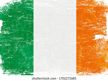 Ireland, Ireland flag, Ireland Flag Background, Grunge Flag Background, Ireland Vintage Flag Background, Banner, Wallpaper