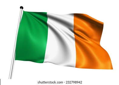 Ireland flag with fabric structure on white background