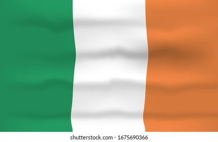 Ireland Flag Icon and Logo. World National Isolated Flag Banner and Template. Realistic, 3D illustration Art with Wave Effect.