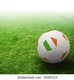 Ireland flag on 3d football for Euro 2012 Group C