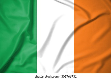 ireland flag on soft and smooth silk texture