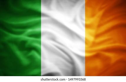 Ireland flag of silk -3D illustration