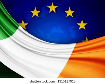 Ireland   flag of silk with copyspace for your text or images and european union flag background-3D illustration