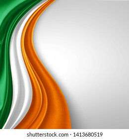 Ireland flag of silk with copyspace for your text or images and White background-3D illustration