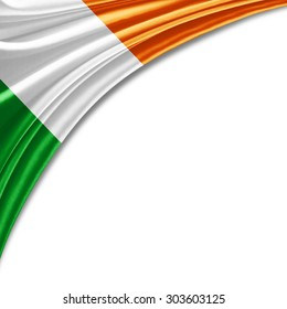 Ireland  flag of silk with copyspace for your text or images and white background