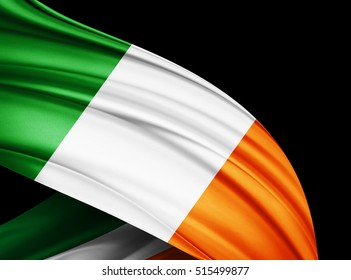Ireland  flag of silk with copyspace for your text or images and black  background -3D illustration