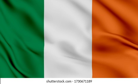 Ireland flag is waving 3D illustration animation. Ireland flag waving in the wind. National flag of Ireland