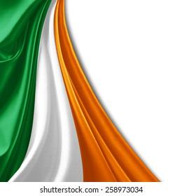 Ireland flag and white background