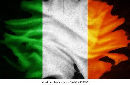 Ireland grunge flag -3D illustration