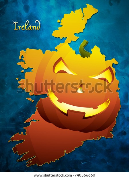 Map Of Ireland On Your Face.Ireland Halloween Map Illustration Pumpkin Face Stock Illustration