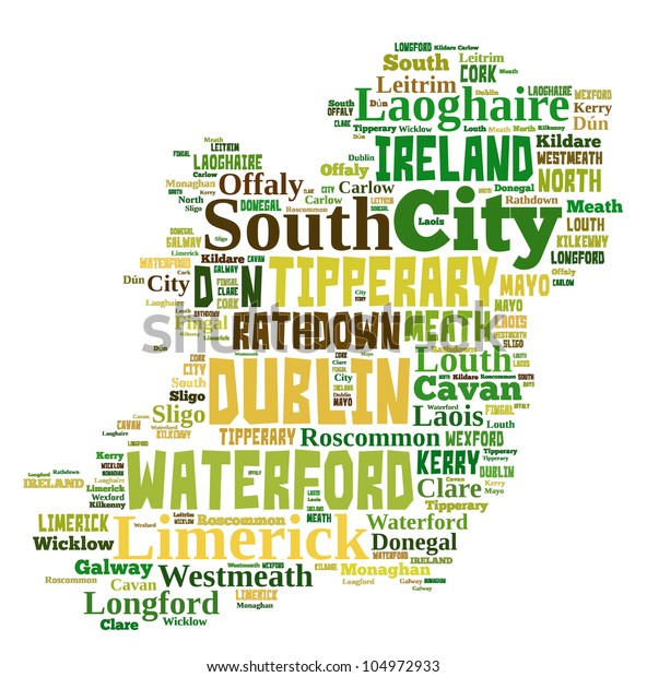 Map Of Ireland With Major Cities.Ireland Map Words Cloud Major Cities Stock Illustration 104972933