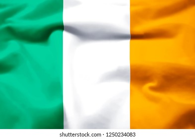 Ireland modern and realistic closeup 3D flag illustration. Perfect for background or texture purposes.