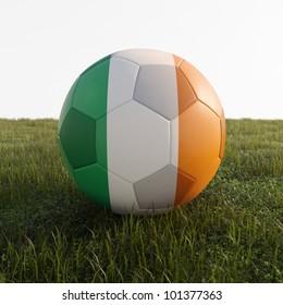 ireland soccer ball isolated on grass