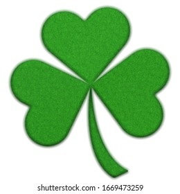 Ireland symbol: green clover leaf isolated on a white background, 3d render. St Patrick's Day symbol, shiny clover leaf.