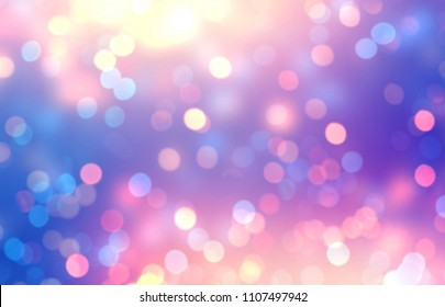 Iridescent glitter empty background. Pink violet bokeh defocused texture. Confetti abstract template. Sparkles blurred illustration. Christmas fliker decor.
